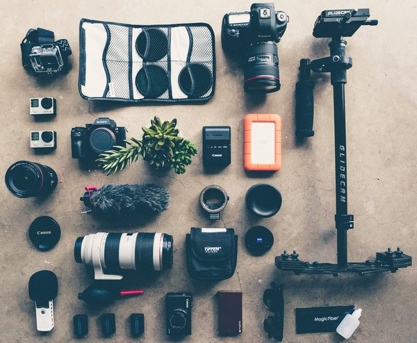 Table of camera gear